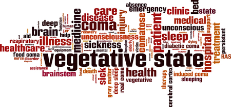 Vegetative state word cloud concept. Vector illustration Illustration