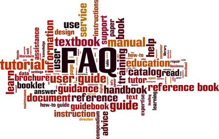 FAQ word cloud concept. Vector illustration