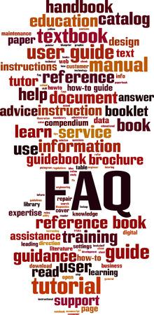 FAQ word cloud concept. Vector illustration