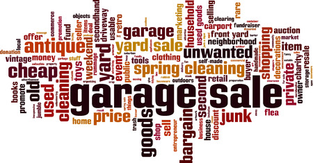 Garage sale word cloud concept. Vector illustration