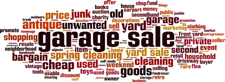 Garage sale word cloud concept. Vector illustration