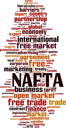 NAFTA word cloud concept. Vector illustration