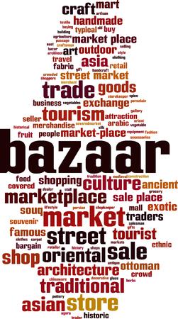 Bazaar word cloud concept. Vector illustration