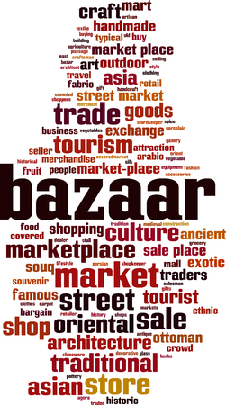 Bazaar word cloud concept. Vector illustration