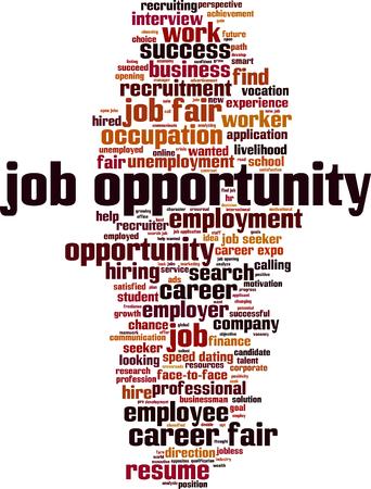 Concetto della nuvola di parola opportunità di lavoro. Illustrazione vettoriale Vettoriali
