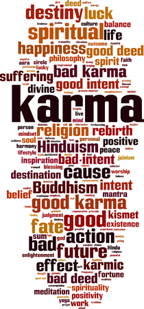 Karma word cloud concept. Vector illustration