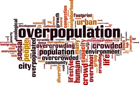 Overpopulation word cloud concept. Vector illustration