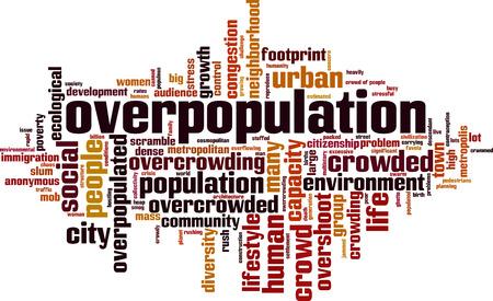 Overbevolking word cloud concept. Vector illustratie Vector Illustratie