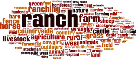 Ranch word cloud concept. Vector illustration