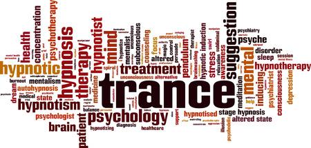 Concepto de nube de word de trance. Ilustración vectorial