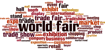 World fair word cloud concept. Vector illustration