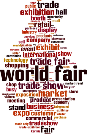 World fair word cloud concept. Vector illustration Illustration