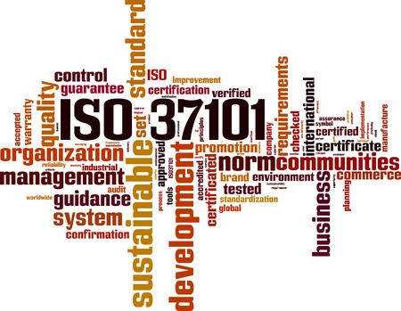 ISO 37101 word cloud concept. Vector illustration