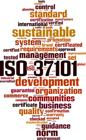 ISO 37101 word cloud concept. Vector illustration.