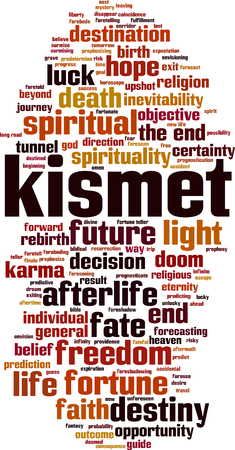 Kismet word cloud concept. Vector illustration