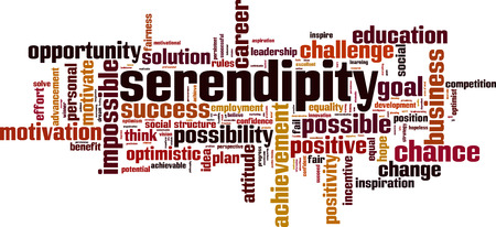 Serendipity word cloud concept. Vector illustration