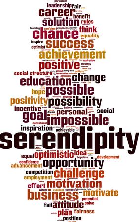 Serendipity-Wortwolkenkonzept. Vektorillustration