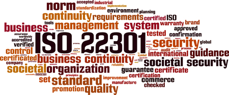 ISO 22301 word cloud concept. Vector illustration Ilustração