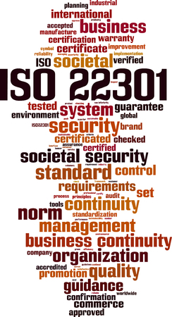 ISO 22301 word cloud concept. Vector illustration Illustration