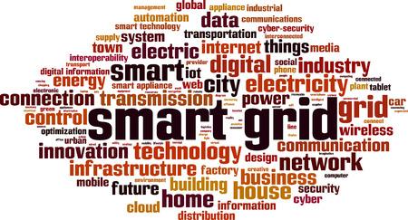 Smart grid word cloud concept. Vector illustration