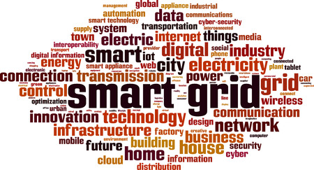 Smart grid word cloud concept. Vector illustration