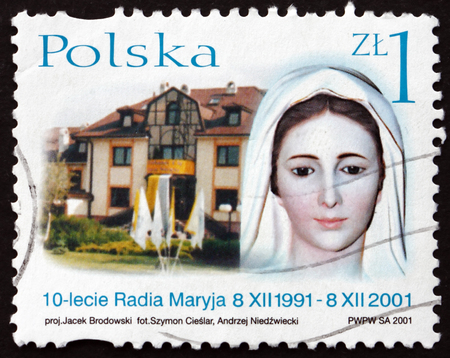 POLAND - CIRCA 2001: a stamp printed in Poland shows Head of Virgin Mary Statue and Building, Radio Maryja 10th Anniversary, circa 2001 Editorial