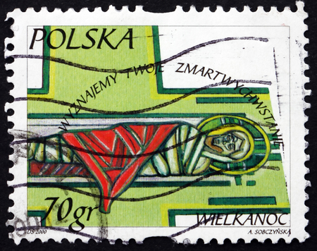 POLAND - CIRCA 2000: a stamp printed in Poland shows Christ in Tomb, Easter, circa 2000