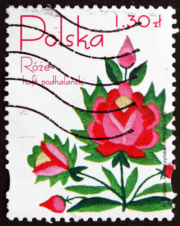 POLAND - CIRCA 2005: a stamp printed in Poland shows Embroided Rose from Podhale Region, circa 2005