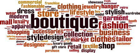 Boutique word cloud concept. Vector illustration Illusztráció