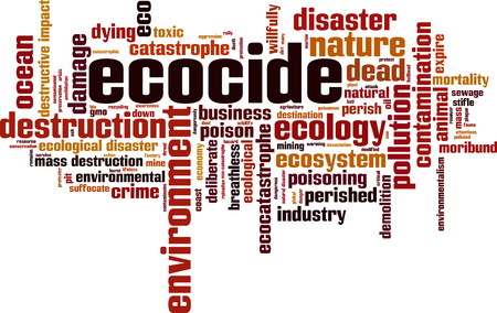 Ecocide word cloud concept. Vector illustration