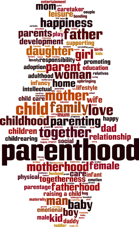 Parenthood word cloud concept. Vector illustration
