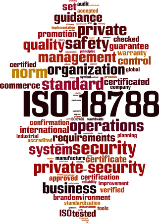 ISO 18788 word cloud concept. Vector illustration