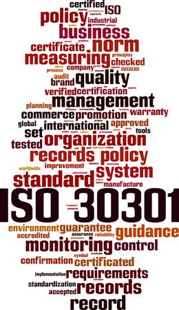 ISO 30301 word cloud concept. Vector illustration Ilustração