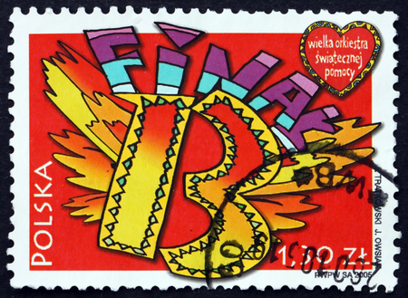 POLAND - CIRCA 2005: a stamp printed in Poland dedicated to 13th Concert of the Great Holiday Help Orchestra, circa 2005 Éditoriale