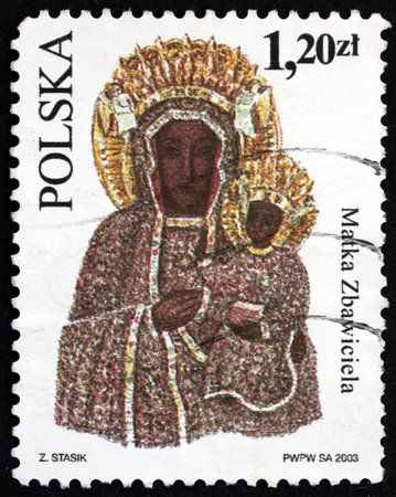 POLAND - CIRCA 2003: a stamp printed in Poland shows Mother of the Redeemer, Depiction of the Virgin Mary, circa 2003