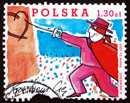 POLAND - CIRCA 2005: a stamp printed in Poland dedicated to Valentines Day, Love, circa 2005 Editorial