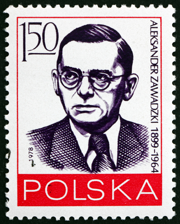 POLAND - CIRCA 1978: a stamp printed in Poland shows Alexander Zawadzki (1899-1964), was Polish Communist Political Figure and President of Poland from 1952 to 1964, circa 1978 Editorial
