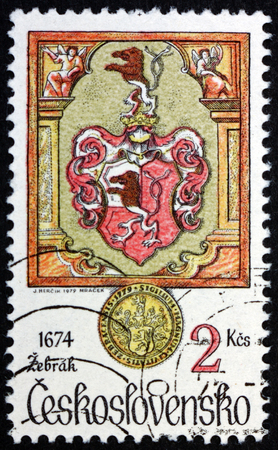 CZECHOSLOVAKIA - CIRCA 1979: a stamp printed in Czechoslovakia shows Arms of Zebrak, from 1674, Animals in Heraldry, Mythological Beast, circa 1979