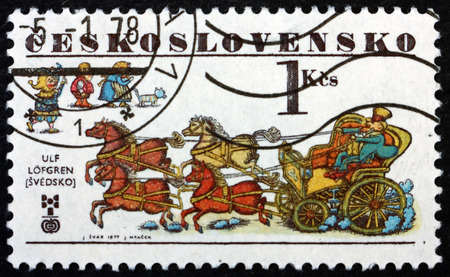 CZECHOSLOVAKIA - CIRCA 1977: a stamp printed in Czechoslovakia shows Coach Drawn by 4 Horses (Hans Christian Andersen) by Ulf Lovgren, Book Illustration, circa 1977