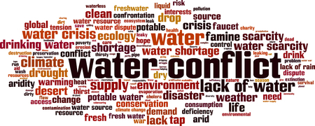 Water conflict word cloud concept. Vector illustration