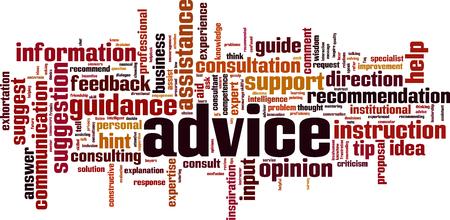 Advice word cloud concept. Vector illustration