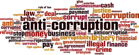 Anti-corruption word cloud concept. Vector illustration