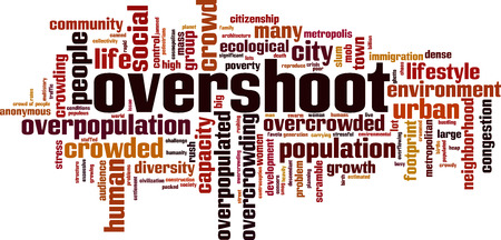 Overshoot word cloud concept. Vector illustration