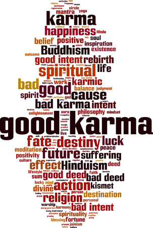 Good karma word cloud concept. Vector illustration Ilustração