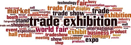 Trade exhibition word cloud concept. Vector illustration