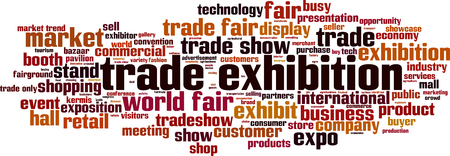 Trade exhibition word cloud concept. Vector illustration