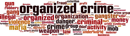 Organized crime word cloud concept. Vector illustration Stock Vector - 102930282
