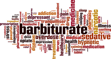 Barbiturate word cloud concept. Vector illustration Illustration