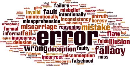 Error word cloud concept. Vector illustration Illustration