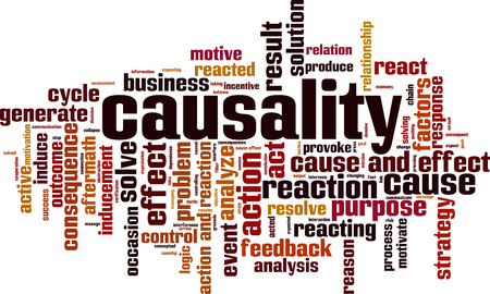 Causality word cloud concept. Vector illustration